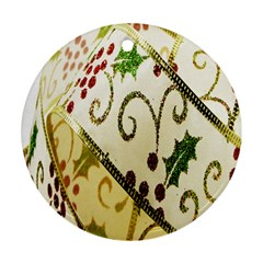 Christmas Ribbon Background Round Ornament (Two Sides)