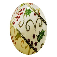 Christmas Ribbon Background Oval Ornament (Two Sides)