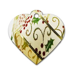 Christmas Ribbon Background Dog Tag Heart (Two Sides)