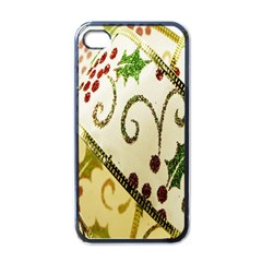 Christmas Ribbon Background Apple iPhone 4 Case (Black)