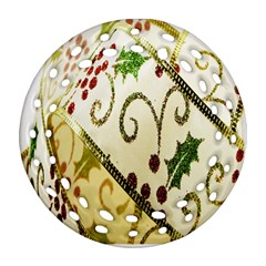 Christmas Ribbon Background Ornament (Round Filigree)
