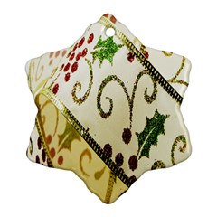 Christmas Ribbon Background Snowflake Ornament (Two Sides)