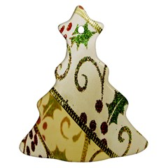 Christmas Ribbon Background Christmas Tree Ornament (Two Sides)