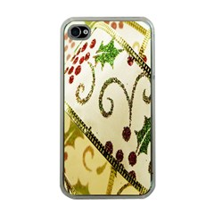 Christmas Ribbon Background Apple iPhone 4 Case (Clear)