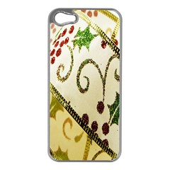 Christmas Ribbon Background Apple iPhone 5 Case (Silver)