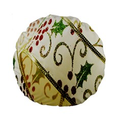 Christmas Ribbon Background Standard 15  Premium Round Cushions