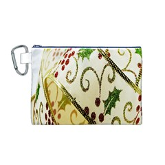 Christmas Ribbon Background Canvas Cosmetic Bag (M)