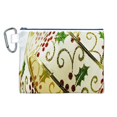 Christmas Ribbon Background Canvas Cosmetic Bag (L)