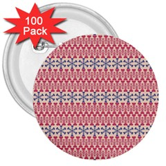 Christmas Pattern Vintage 3  Buttons (100 pack)