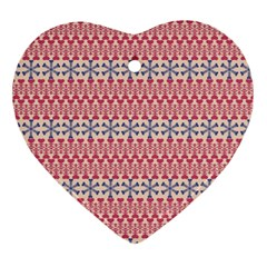 Christmas Pattern Vintage Heart Ornament (Two Sides)