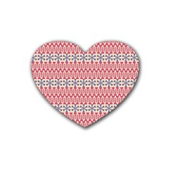 Christmas Pattern Vintage Heart Coaster (4 pack)