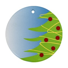 Christmas Tree Christmas Round Ornament (Two Sides)