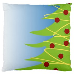 Christmas Tree Christmas Large Flano Cushion Case (Two Sides)