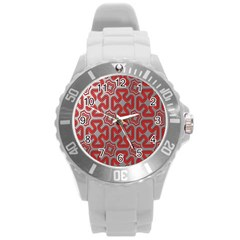 Christmas Wrap Pattern Round Plastic Sport Watch (L)