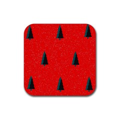 Christmas Time Fir Trees Rubber Square Coaster (4 pack)