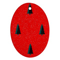 Christmas Time Fir Trees Oval Ornament (Two Sides)