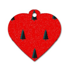 Christmas Time Fir Trees Dog Tag Heart (Two Sides)