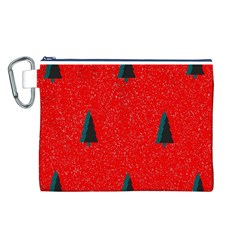 Christmas Time Fir Trees Canvas Cosmetic Bag (L)