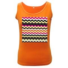 Colorful Chevron Pattern Stripes Women s Dark Tank Top