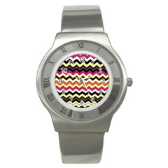 Colorful Chevron Pattern Stripes Stainless Steel Watch
