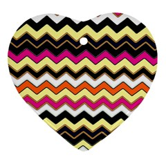 Colorful Chevron Pattern Stripes Heart Ornament (Two Sides)