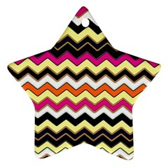 Colorful Chevron Pattern Stripes Star Ornament (Two Sides)
