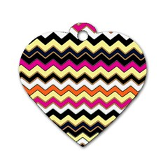 Colorful Chevron Pattern Stripes Dog Tag Heart (One Side)