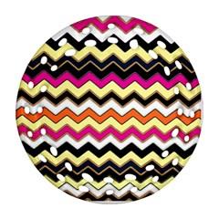 Colorful Chevron Pattern Stripes Ornament (Round Filigree)