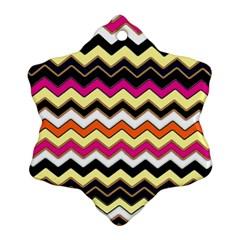 Colorful Chevron Pattern Stripes Snowflake Ornament (Two Sides)
