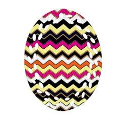 Colorful Chevron Pattern Stripes Ornament (Oval Filigree)