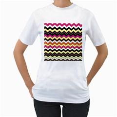 Colorful Chevron Pattern Stripes Women s T-Shirt (White)