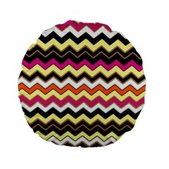 Colorful Chevron Pattern Stripes Standard 15  Premium Flano Round Cushions