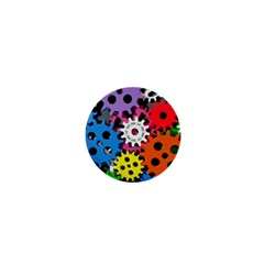 Colorful Toothed Wheels 1  Mini Buttons