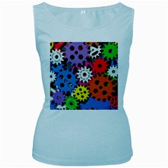 Colorful Toothed Wheels Women s Baby Blue Tank Top