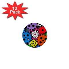 Colorful Toothed Wheels 1  Mini Buttons (10 pack)