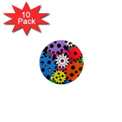Colorful Toothed Wheels 1  Mini Magnet (10 pack)