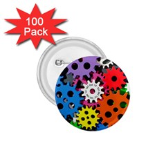 Colorful Toothed Wheels 1 75  Buttons (100 Pack)