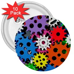 Colorful Toothed Wheels 3  Buttons (10 pack)