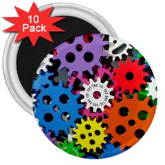 Colorful Toothed Wheels 3  Magnets (10 pack)