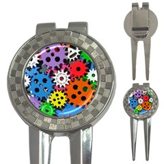 Colorful Toothed Wheels 3-in-1 Golf Divots