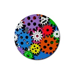 Colorful Toothed Wheels Rubber Coaster (Round)