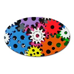 Colorful Toothed Wheels Oval Magnet
