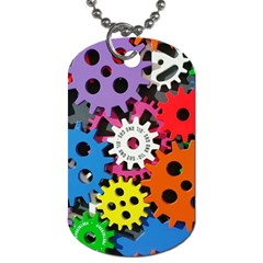 Colorful Toothed Wheels Dog Tag (One Side)