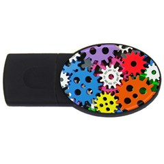 Colorful Toothed Wheels USB Flash Drive Oval (2 GB)