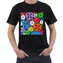 Colorful Toothed Wheels Men s T-Shirt (Black) (Two Sided)