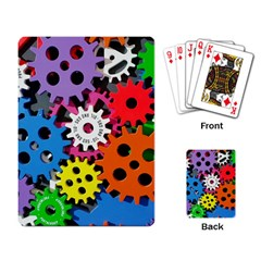 Colorful Toothed Wheels Playing Card