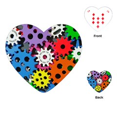 Colorful Toothed Wheels Playing Cards (Heart)