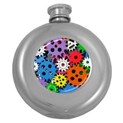 Colorful Toothed Wheels Round Hip Flask (5 oz)
