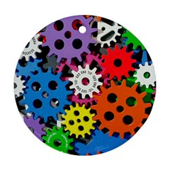 Colorful Toothed Wheels Round Ornament (Two Sides)