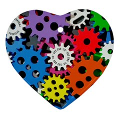 Colorful Toothed Wheels Heart Ornament (Two Sides)